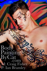 Bodypainting by at glitter tattoo on male-Craig grafitti body art