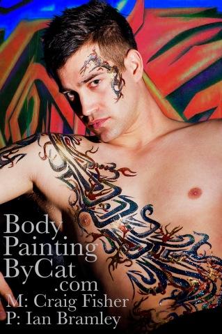 Bodypainting by at glitter tattoo on male-Craig grafitti body art