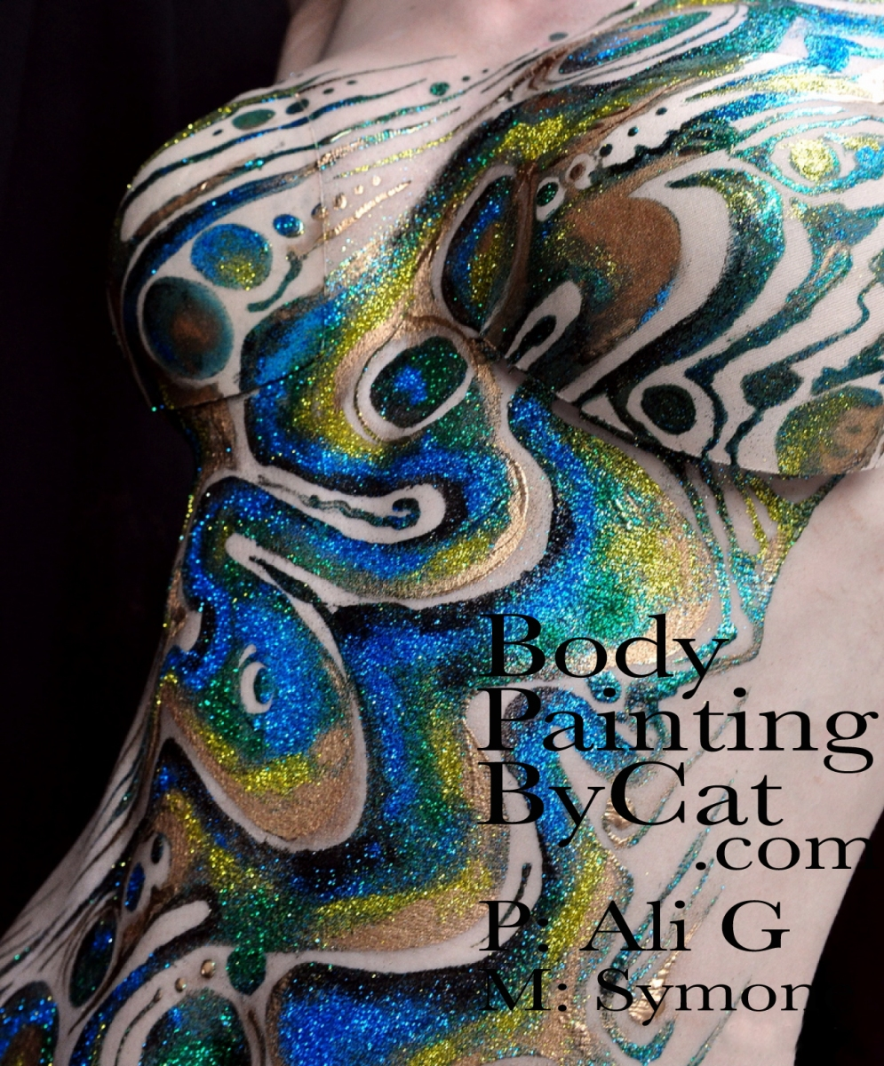 Abalone Inspired Glitter Tattoo Body Painting By Cat