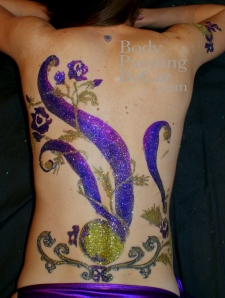 Beijing Club HK Glitter body tattoo; bodypaintingbycat.co.uk; on Symone of poleparadisestudio.com club logo on back wm-1