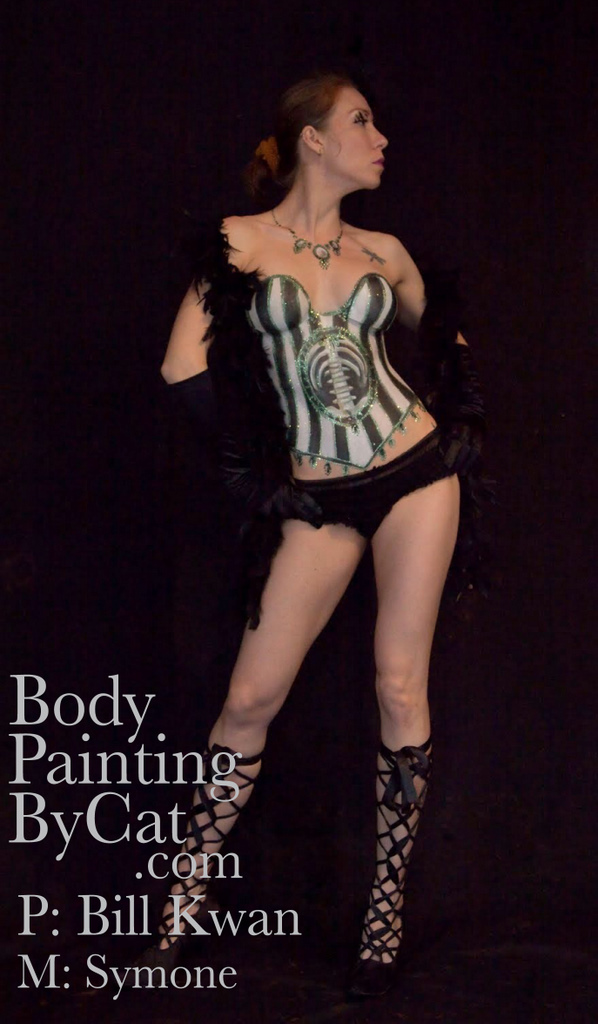 Steampunk Skeleton Corset Body Paint Body Painting By Cat