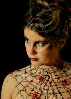 Glitter Tattoo Freehand spider web neck bodypaintingbycat
