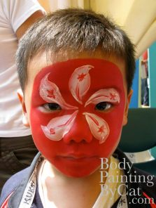 Rugby HK flag face paint kid bpc