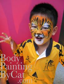 Rugby tiger boy facepaint bpc