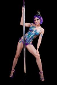 Symone body glitter tatt behind pole