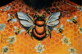 Bee neck bodypaint on Mel by Cat pics DR Cook crop bpc