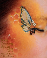 Bee neck bodypaint on Mel by Cat pics DR Cook eye bpc