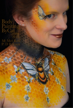 Bee neck bodypaint on Mel by Cat pics DR Cook grin bpc