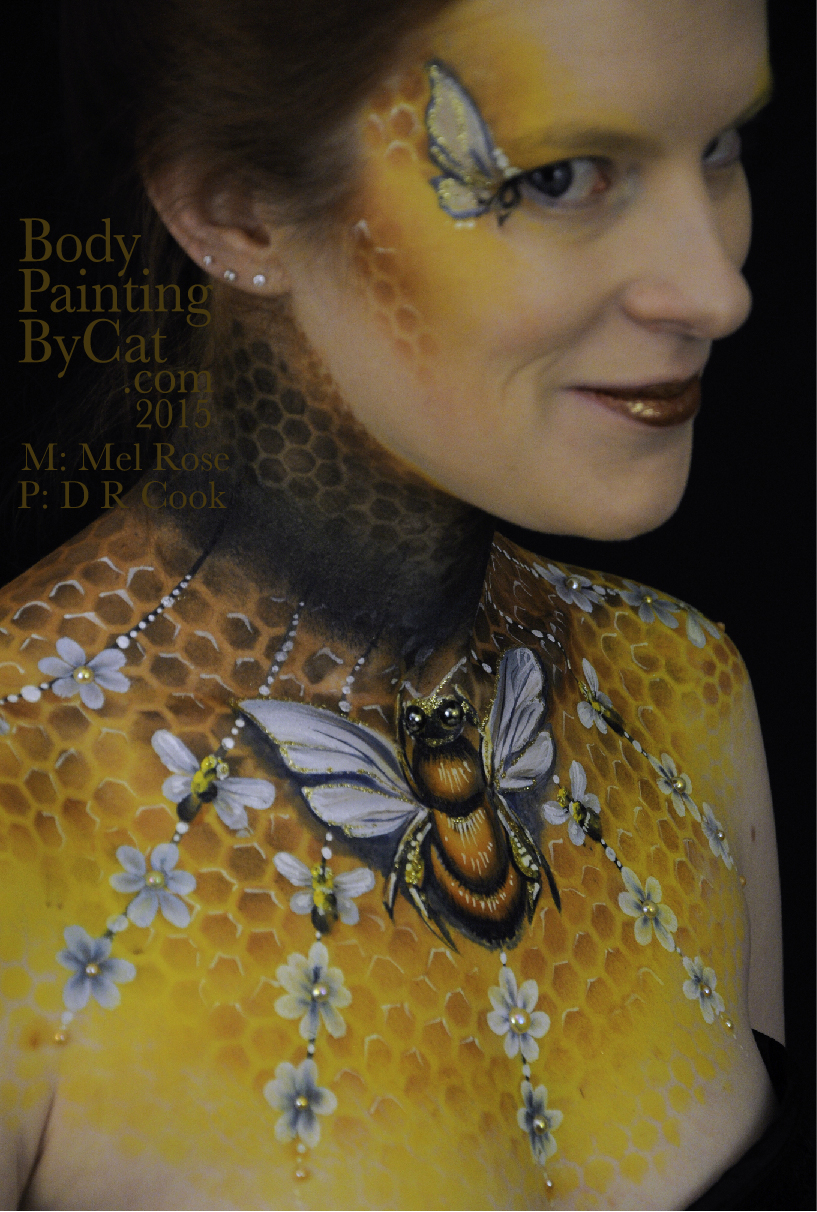 Bee Honeycomb Neck Art Body Paint Amp Facepainting By Bath