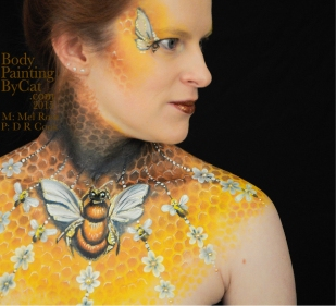 Bee neck bodypaint on Mel by Cat pics DR Cook shoulder bpc