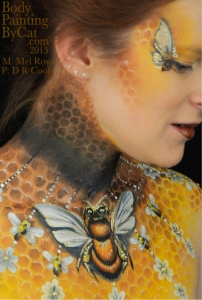 Bee neck bodypaint on Mel by Cat pics DR Cook side bpc