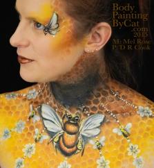 Bee neck bodypaint on Mel by Cat pics DR Cook twist bpc