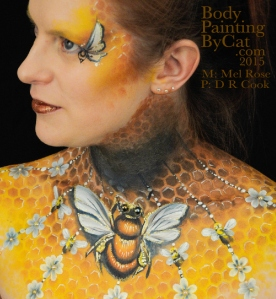 Bee neck bodypaint on Mel by Cat pics DR Cook twist bpc