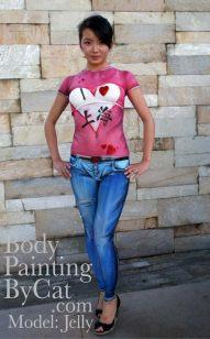 I love Shanghai Jeans & t-shirt bodypaint