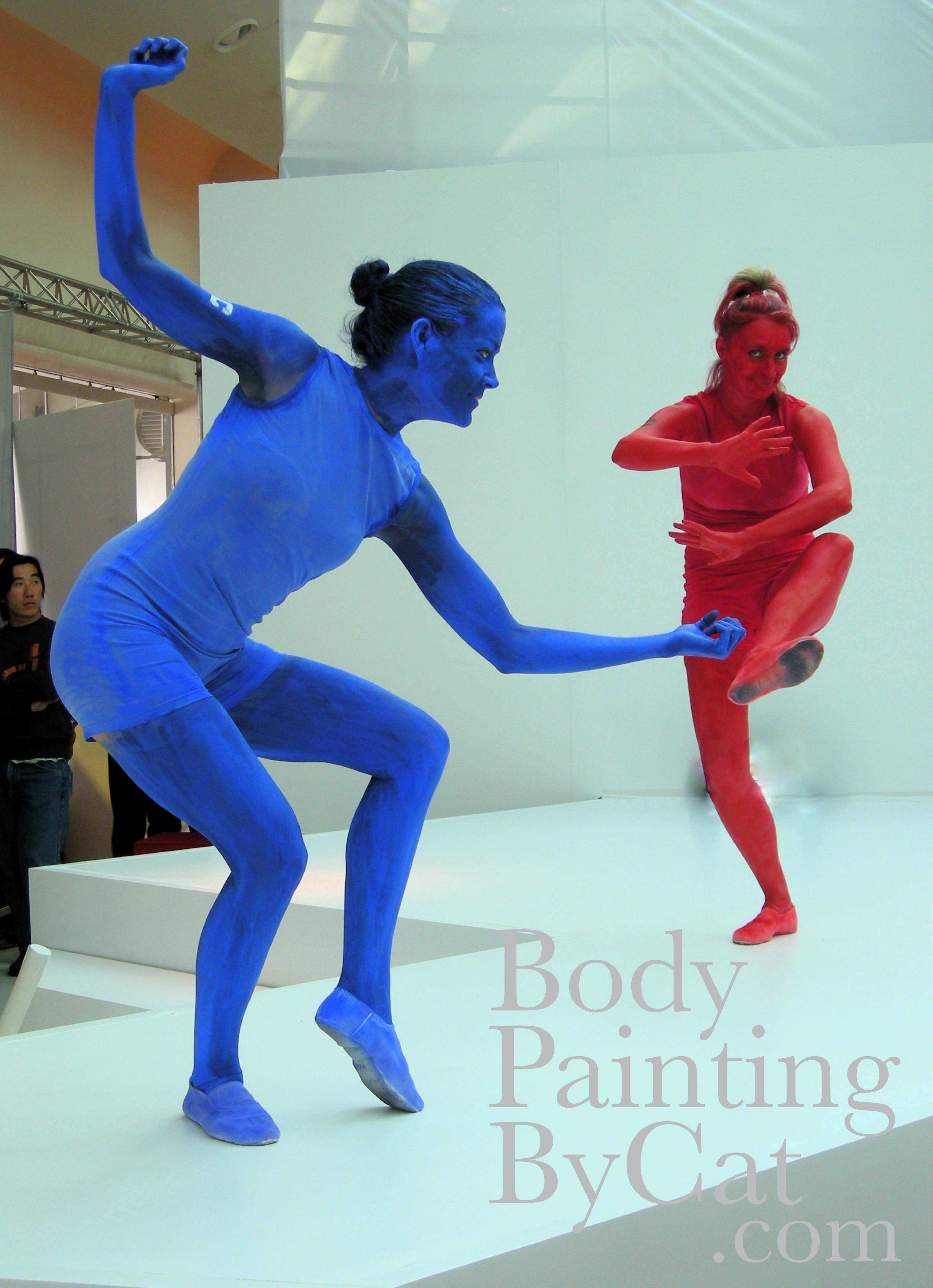 Jvc Red Blue Bodypaint Statues Dance Bpc Body Painting