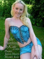 Bodypainted denim corset & hotpants