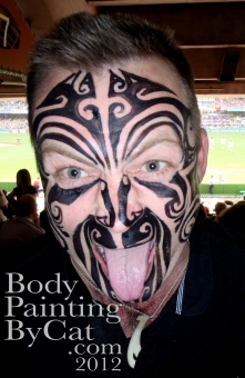 Maori celebration face tattoo paint tongue bpc