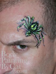 Spider on head paint by Cat Finlayson bpc