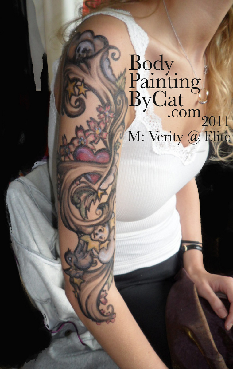 Temporary arm sleeve tattoo painted ink body art body for Temporary arm tattoos