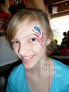 USA starry eye burst girl face paint sport
