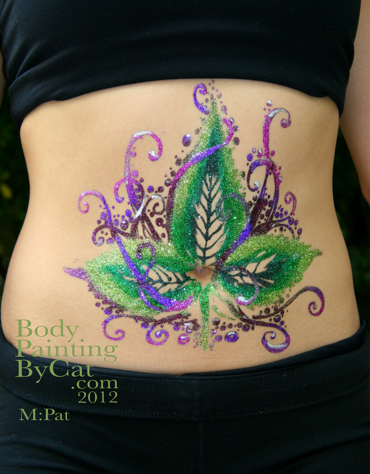 Yoga glitter tattoo body art body painting by cat for Where to get glitter tattoos