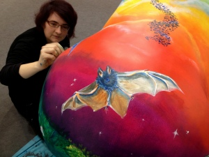 Gorilla day 3 me painting batty bum-001