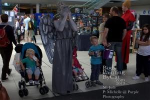 Dr Who rift  bodypaint weeping angel tardis n chugger bpc