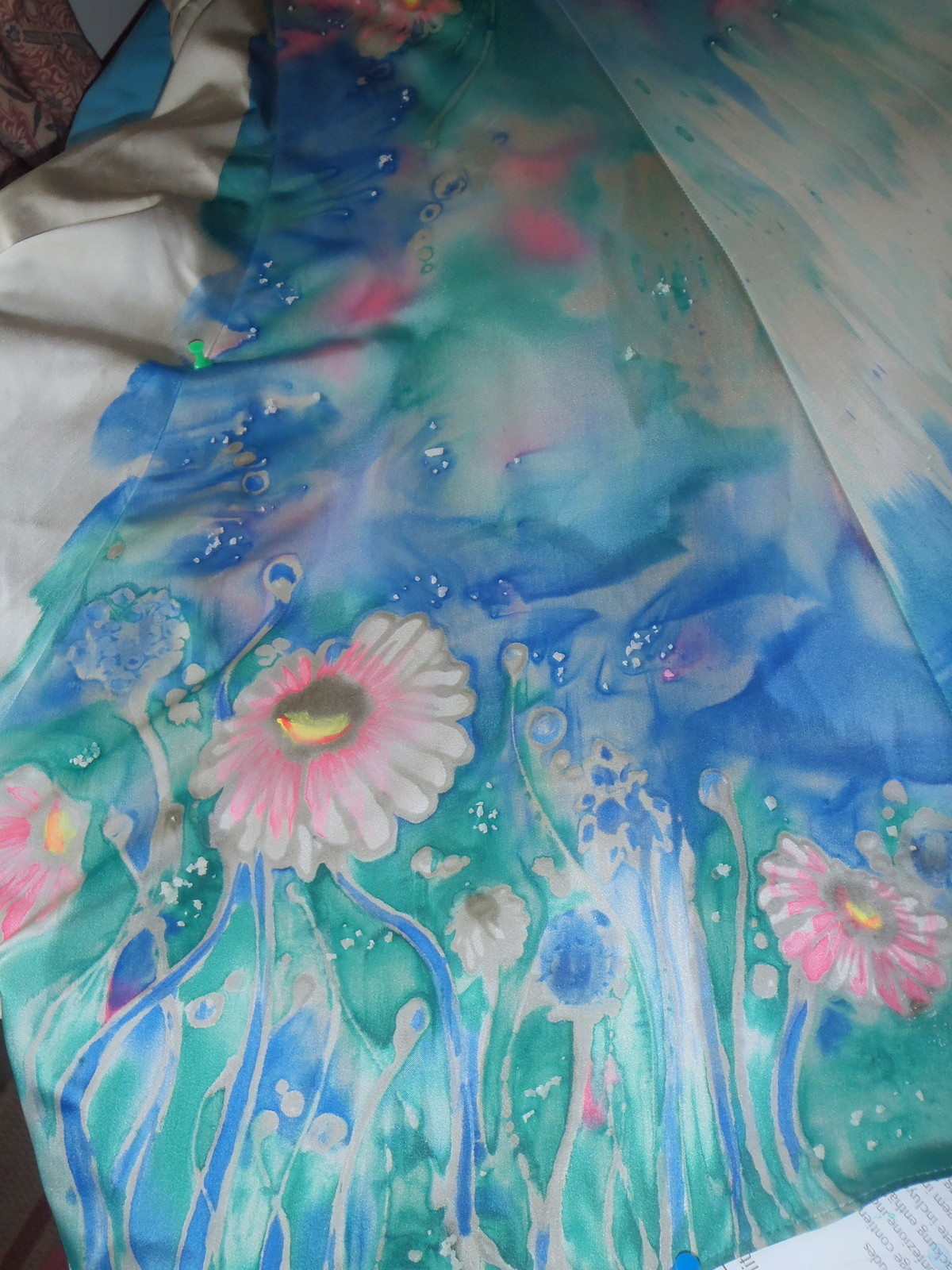 Hand Painted Upcyled 2nd Hand Silk Dress Occasion Wedding