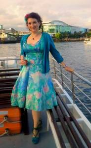 Silver dress painted Nic Pete wedding boat
