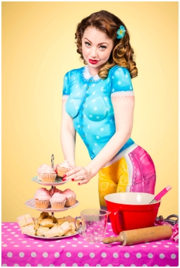 Paintopia vintage cupcake bodypaint shoot Cat
