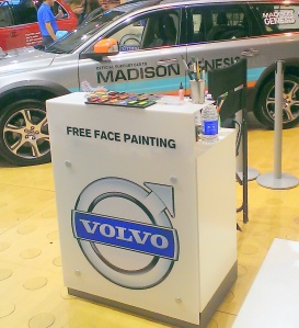 NEC Volvo face paint set up.29