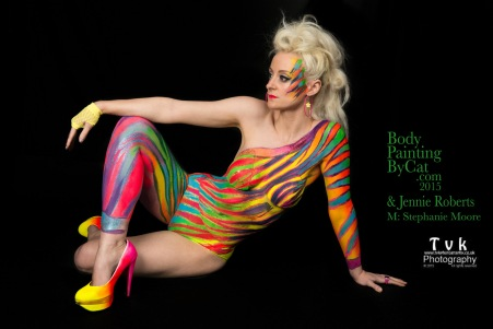 Urban Jungle neon zebra on Steph by Cat Finlayson& Jennie Roberts, TVK photography sat lookaway logo