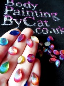 Face paint gems shell bling hand tall clse