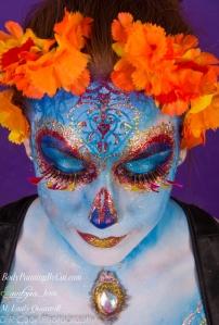 Sugar Skull dotd emily glitter bodypaint smile down crop logo