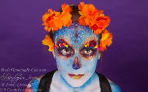 Sugar Skull dotd emily glitter bodypaint smile look up logo