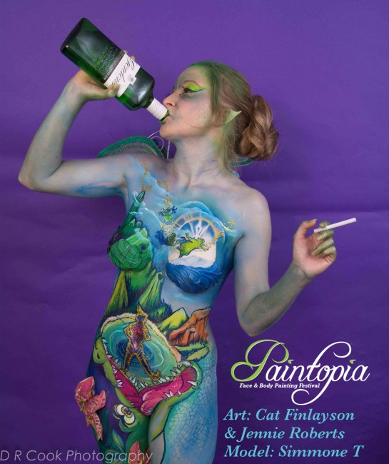 Drinkerbelle Tink Twisted fairytale bodypaint bottle n fag logo