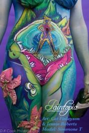 Drinkerbelle Tink Twisted fairytale bodypaint smile torso logo