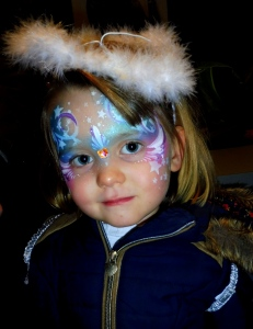 Quick angel facepaint with facet heart bling