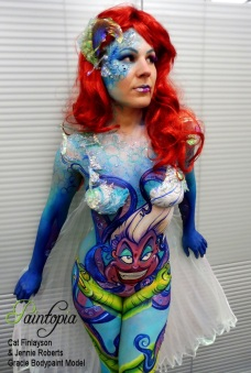 Scariel Little Merm Prosthetics demo bodypaint blinds look away logo