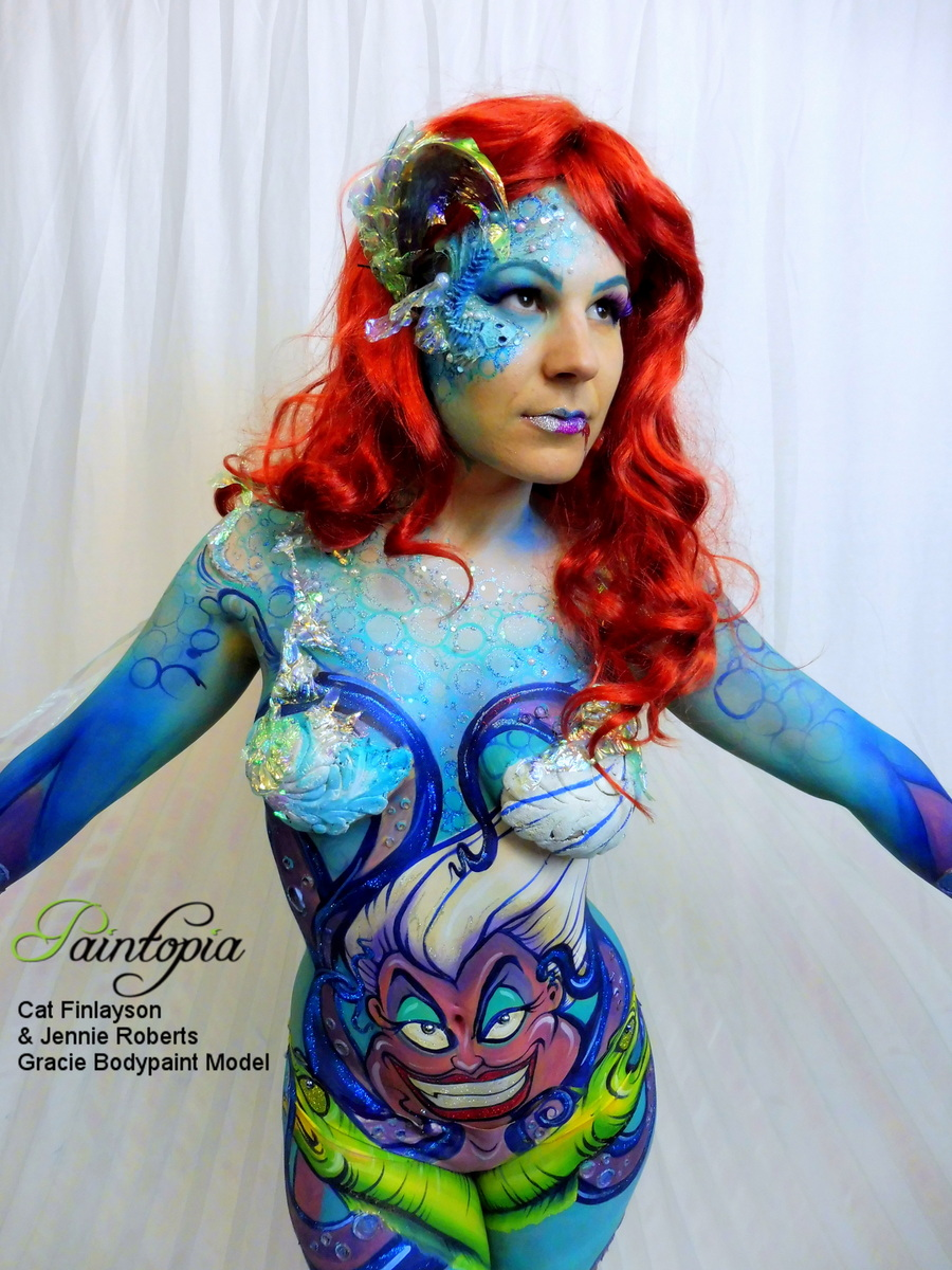 Scariel Little Merm Prosthetics Demo Bodypaint White Close