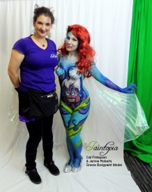 Scariel Little Merm Prosthetics demo bodypaint white n cat logo