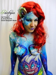 Scariel Little Merm Prosthetics demo bodypaint white smile logo