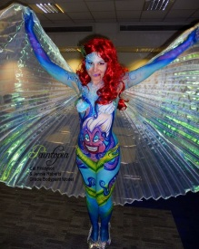 Scariel Little Merm Prosthetics demo bodypaint wings logo