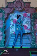 Penny flowery camo wall paper paint trompe catwalk pose