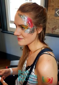 PRIDE London arm heart rainbow stencil n glitter bpc