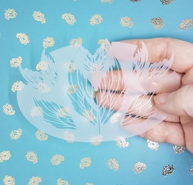 New Mermaid Fin stencil held.36